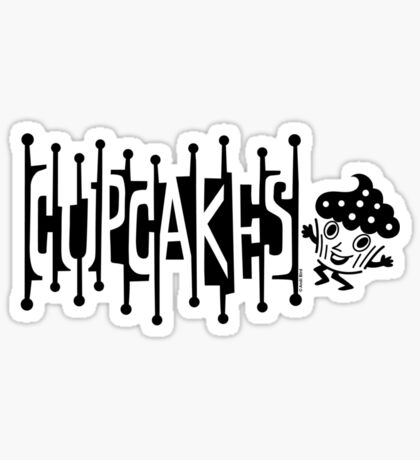Retro Cupcakes - black Sticker