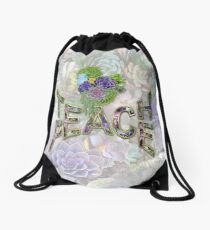 South Africa Succulents & Teach Peace Drawstring Bag