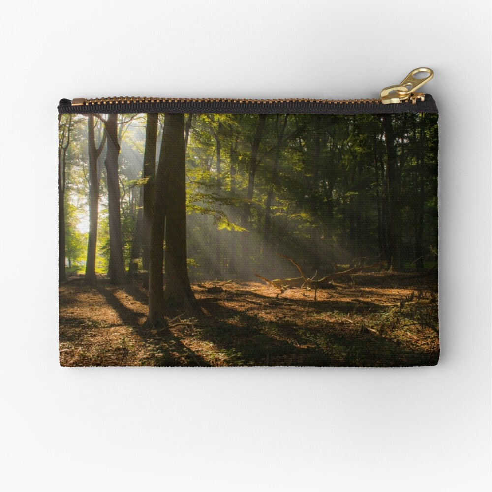 Golden Sunrise Forest Zipper Pouch
