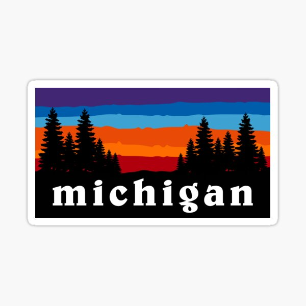 Michigan Forest Camping Ski Snowboard Hiking Mountain Great Lakes Sunset Gift Ideas Sticker