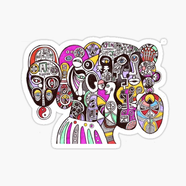 Tao of immortality (chinese cubism illustration) Sticker