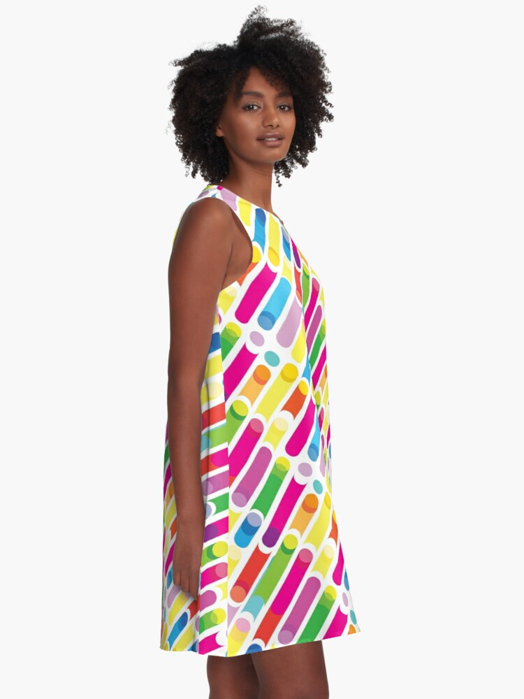 Rainbow Abstract Colorful Diagonal Lines Geometric Pattern Summer Colors Collection A Line Dress By Sofiartmedia Redbubble