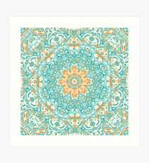 Orange and Turquoise Floral Mandala Art Print
