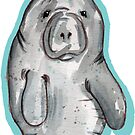 Aquarell-Manatis-Aufkleber von bellamells