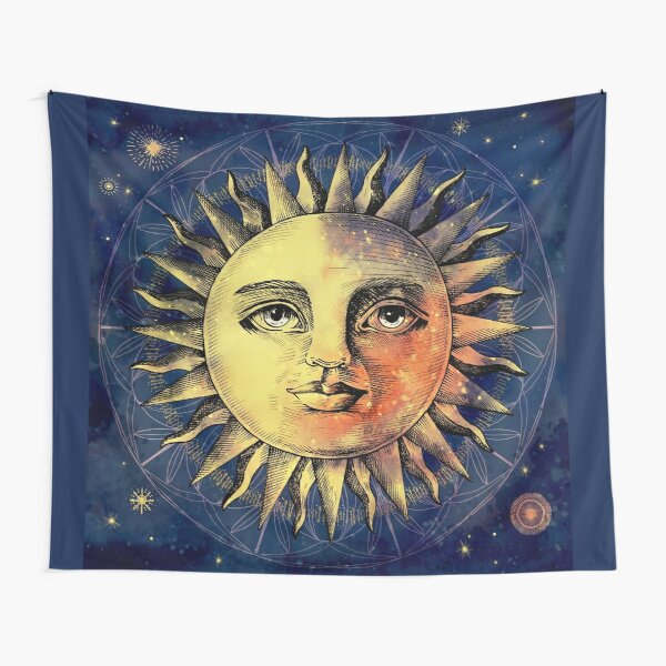 Celestial Antique Sun And Sky Watercolor Batik Tapestry