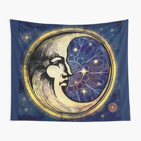 Celestial Antique Man In The Moon Watercolor Batik Tapestry