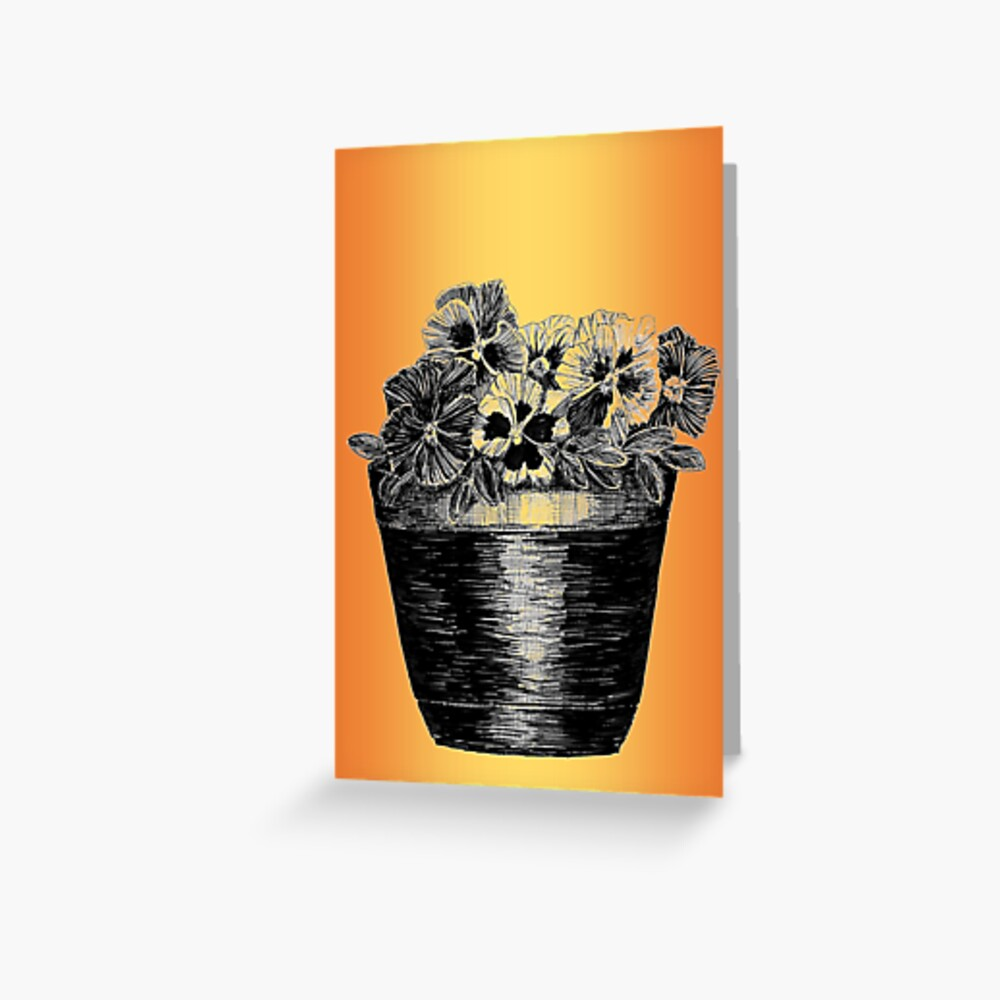 Pansies in a Pot Greeting Card (Blank) Greeting Card
