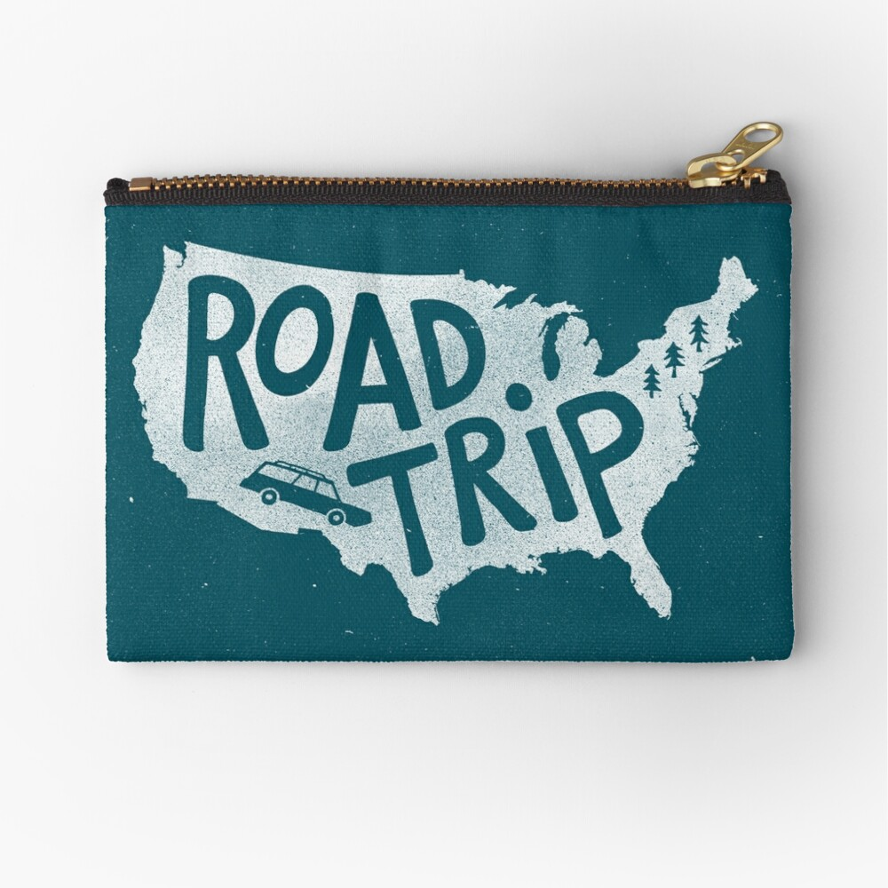 Road Trip USA - blue Zipper Pouch
