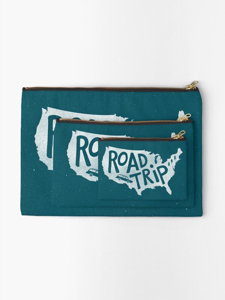 Alternate view of Road Trip USA - blue Zipper Pouch