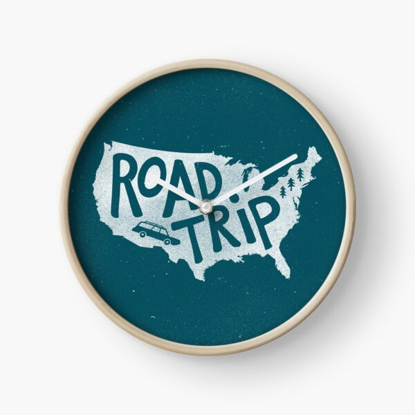 Road Trip USA - blue Clock