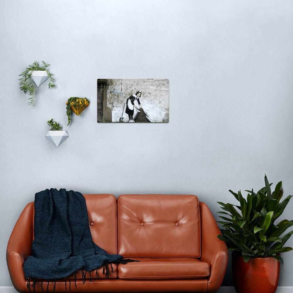 Banksy, Cleaning Lady (swept Under the Carpet) Artwork, Prints, Posters, Tshirts, Men, Women, Kids Metal Print