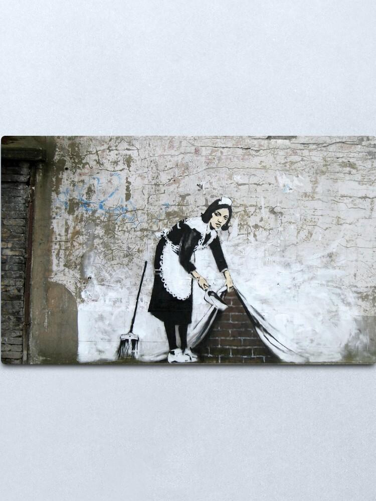 Alternate view of Banksy, Cleaning Lady (swept Under the Carpet) Artwork, Prints, Posters, Tshirts, Men, Women, Kids Metal Print