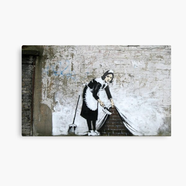 Banksy, Cleaning Lady (swept Under the Carpet) Artwork, Prints, Posters, Tshirts, Men, Women, Kids Metal Print