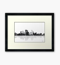 Minneapolis, Minnesota Skyline - Black and White Framed Print