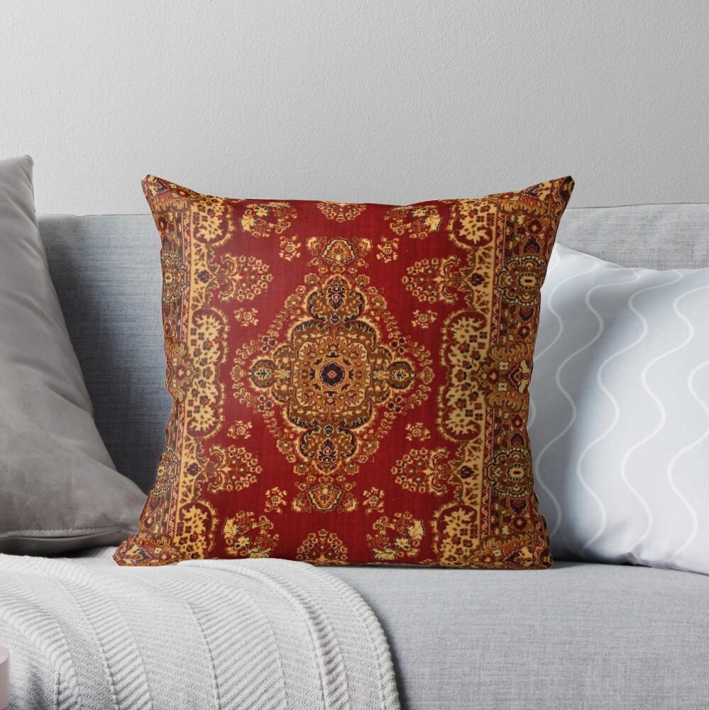 Persian Carpet - Persian Vintage Antique Carpet Nature Fine Art Throw Pillow