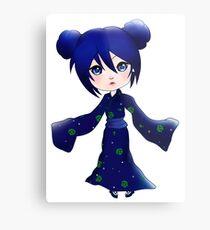 Blue Chibi Girl Metal Print