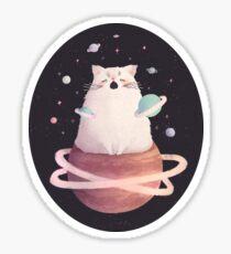 Yawning Space God Cat Sticker