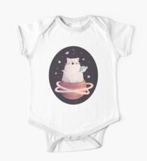 Yawning Space God Cat Short Sleeve Baby One-Piece