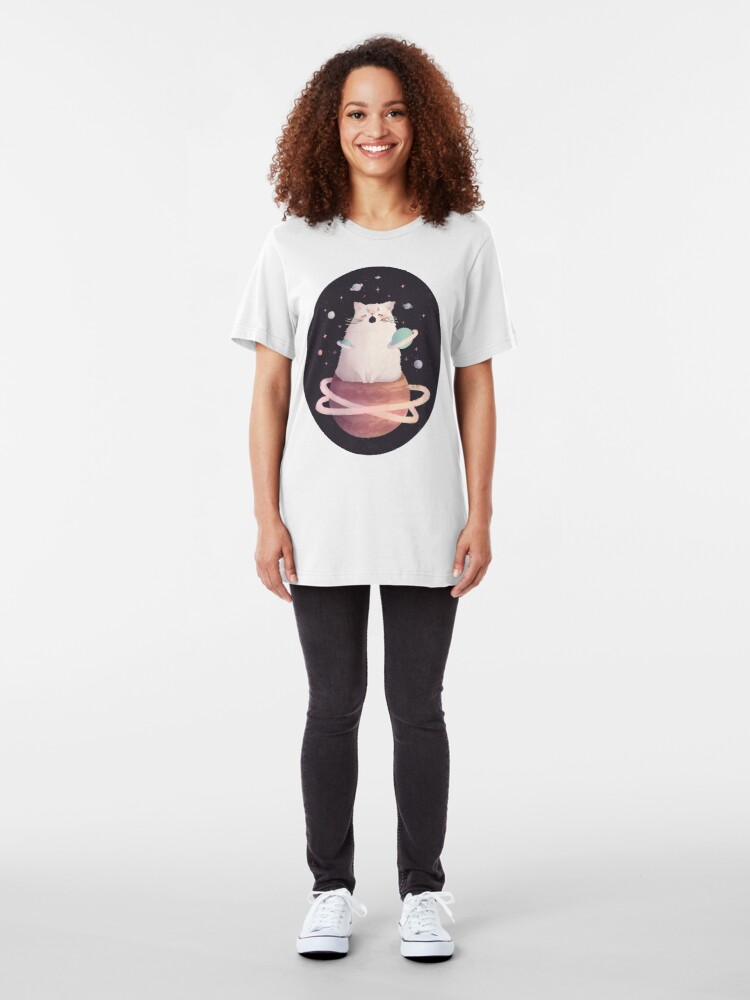Alternate view of Yawning Space God Cat Slim Fit T-Shirt