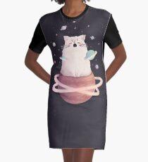 Yawning Space God Cat Graphic T-Shirt Dress