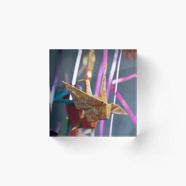 Origami Paper Crane Acrylic Block