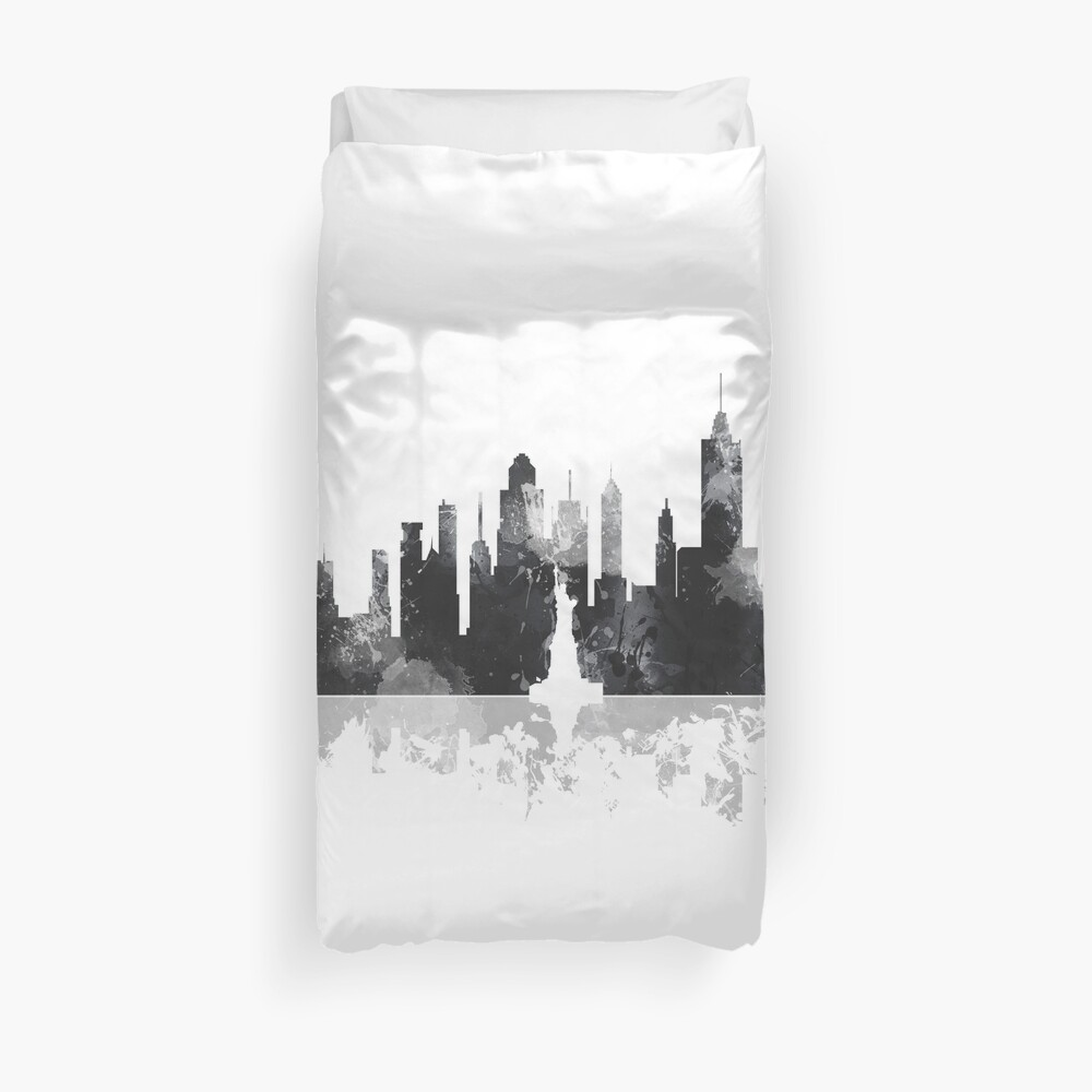 New York, NY Skyline - schwarz und weiß Bettbezug