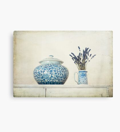 Lavender with Blue and White Ginger Jar Canvas Print