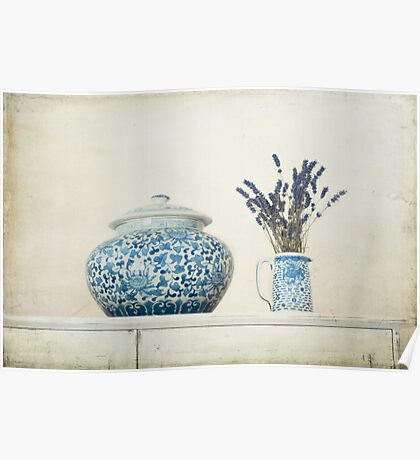 Lavender with Blue and White Ginger Jar Poster