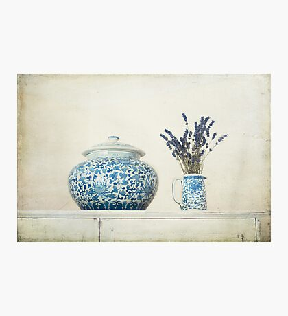 Lavender with Blue and White Ginger Jar Photographic Print