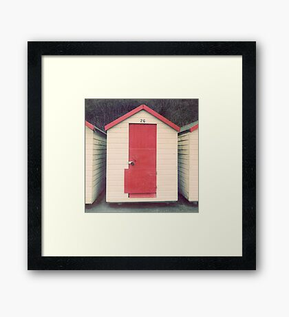Red and White Beach Hut Framed Print