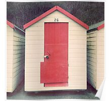 Red and White Beach Hut Poster