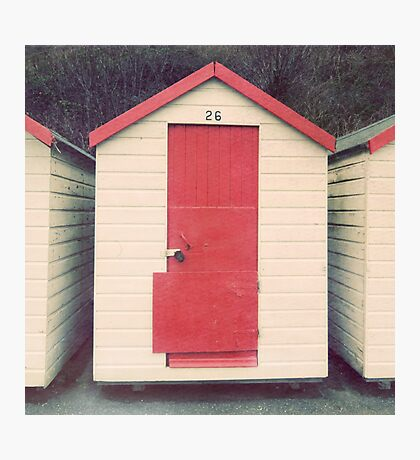 Red and White Beach Hut Photographic Print