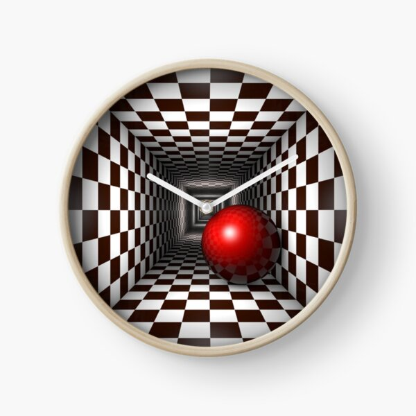Chess, Black and White Square Illusion. Chess Tunnel with a Red Ball Clock