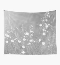 English Countryside Flowers in Black and White Wall Tapestry