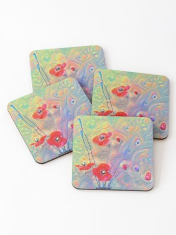 #Deepdreamed Poppies Coasters