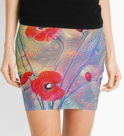 #Deepdreamed Poppies Mini Skirt