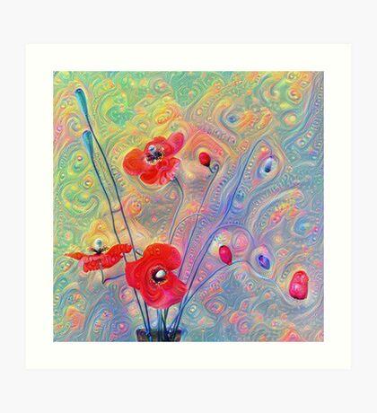 #Deepdreamed Poppies Art Print