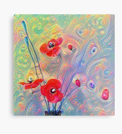 #Deepdreamed Poppies Metal Print