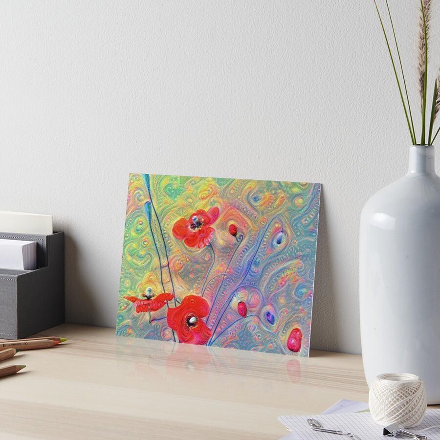 #Deepdreamed Poppies Art Board Print