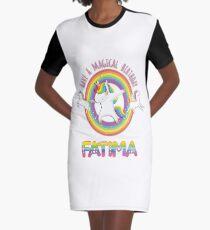 Fatima Birthday  Fatima Have A Magical Birthday Unicorn Rainbow Dabbing - Dabbing Unicorn Gift For Fatima Graphic T-Shirt Dress