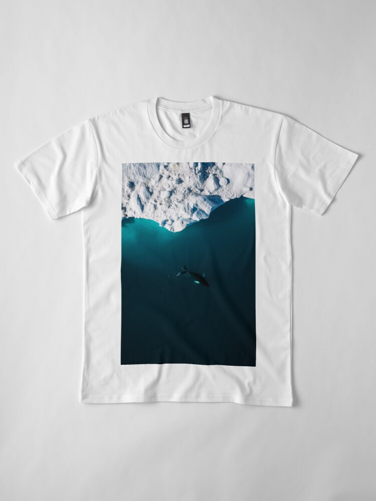 Alternate view of Aerial of a lone Humpback whale in front of an iceberg in Greenland Premium T-Shirt