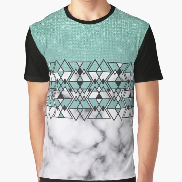 Modern Teal Glitter Marble Geometric Tribal Triangles Graphic T-Shirt