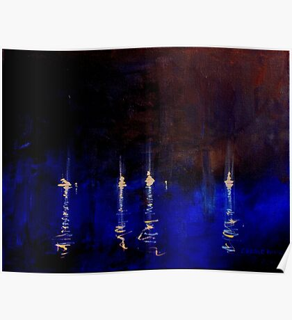 Yachts by night Poster