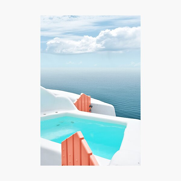 Santorini Pool with a View to the Sea Photographic Print
