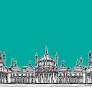 Brighton Royal Pavilion Facade ( teal version ) by Adam Regester