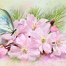 Schmetterling auf Kirschblüte von Morag Bates