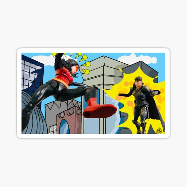 Woman Hero Vs. Woman Villain.   Action Figure Fight! Sticker