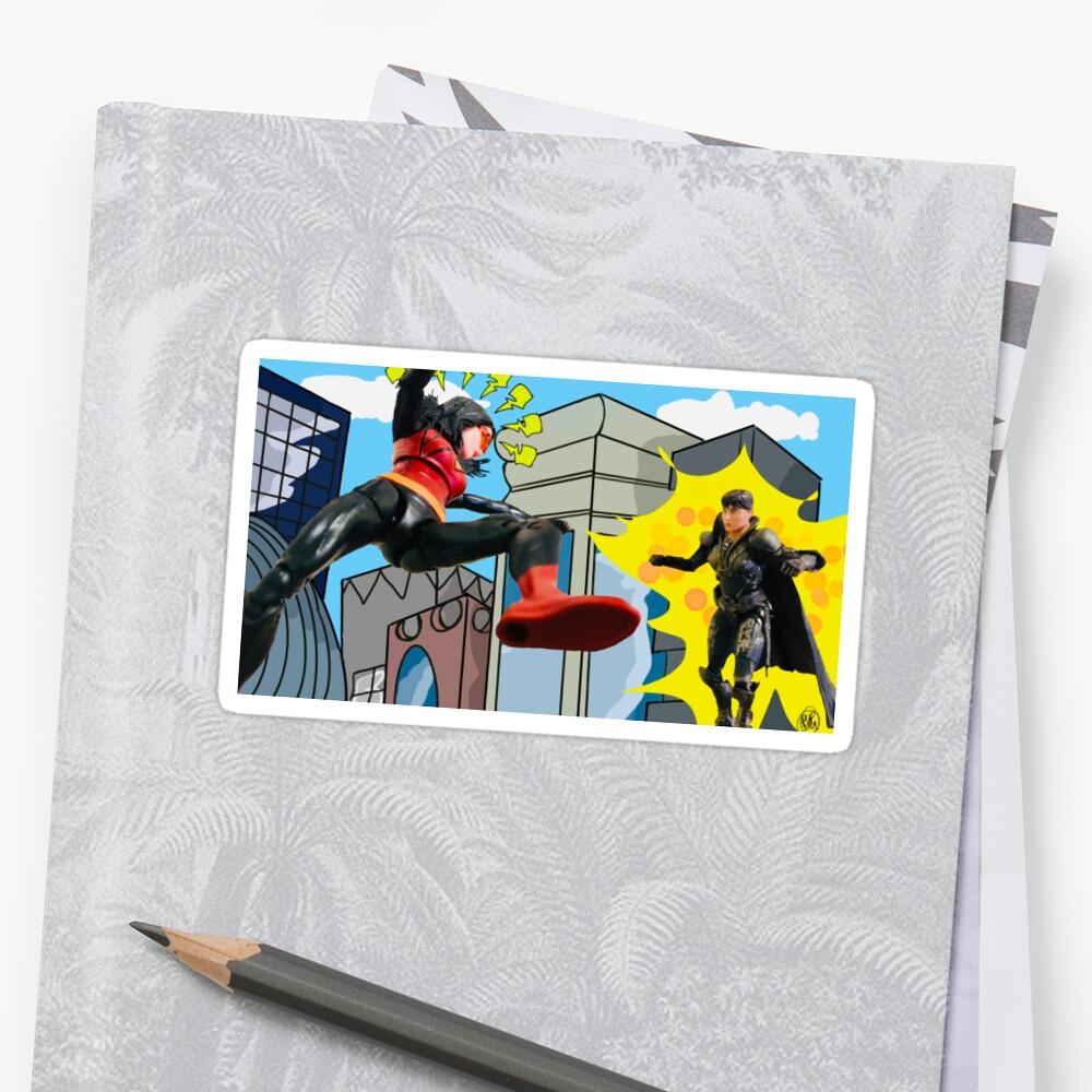 Woman Hero Vs. Woman Villain.   Action Figure Fight! Stickers