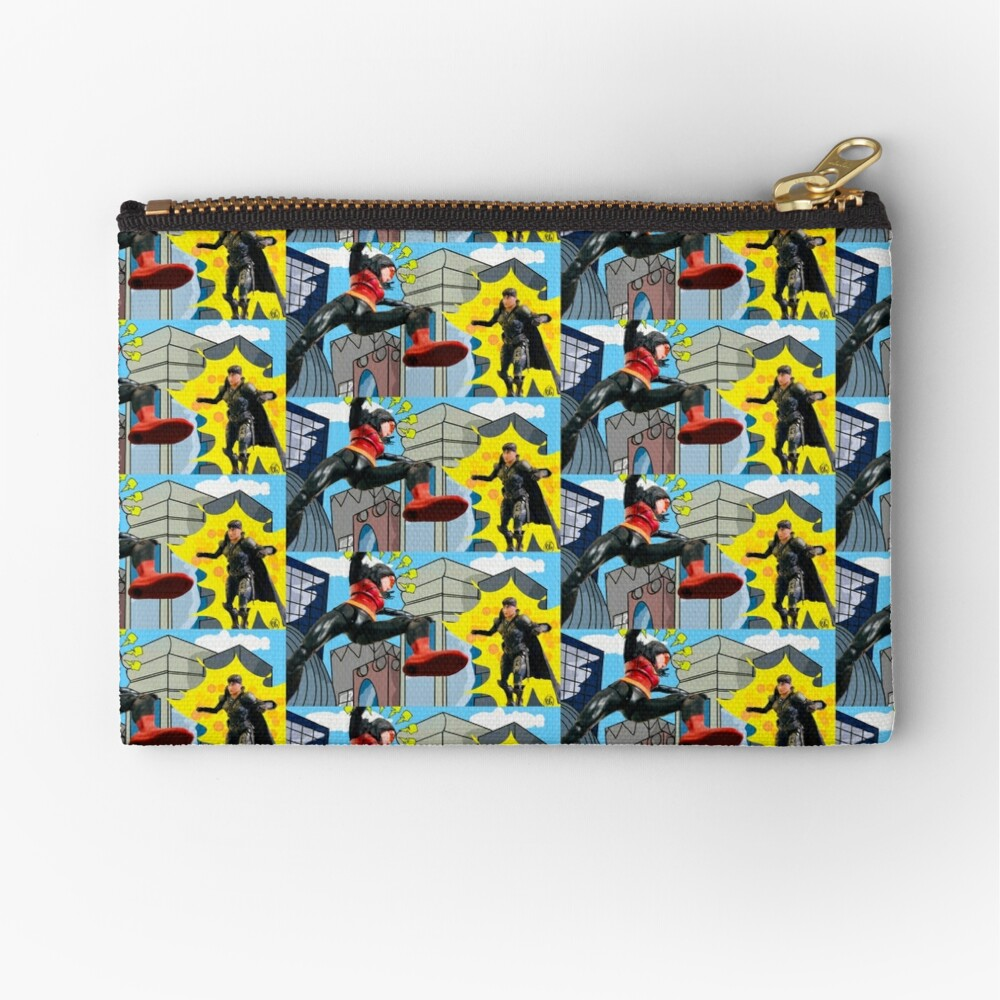 Woman Hero Vs. Woman Villain.   Action Figure Fight! Zipper Pouch