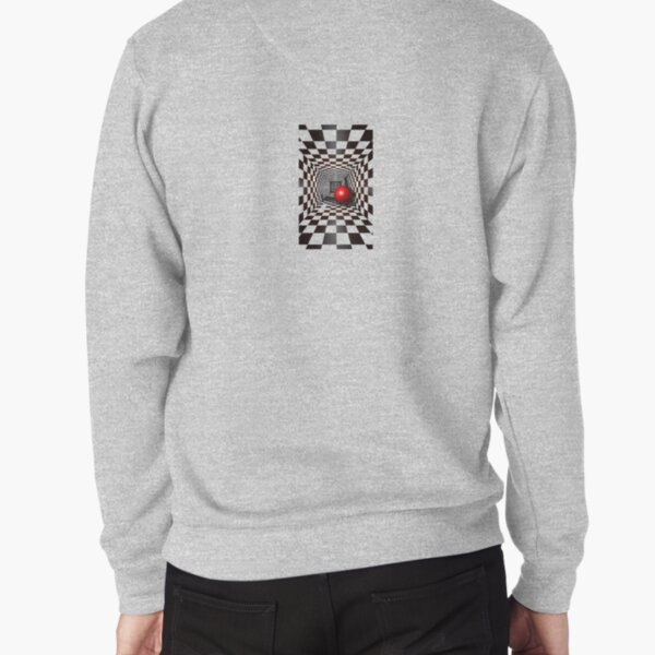 Black and White Square Illusion. Chess Tunnel with a Red Ball Pullover Sweatshirt